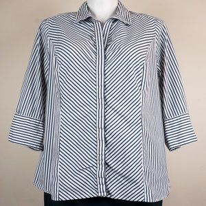 Lane Bryant Button Down Shirt Striped Blue White